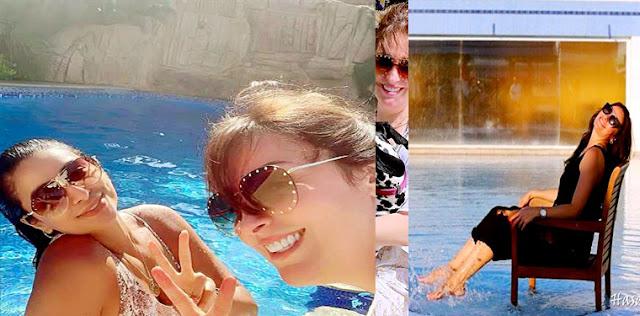 صور نرمين الفقي  فى حمام السباحة - المصيف في البيت عشان الكورونا - نرمين الفقى تسمتع بالصيف فى حمام السباحة