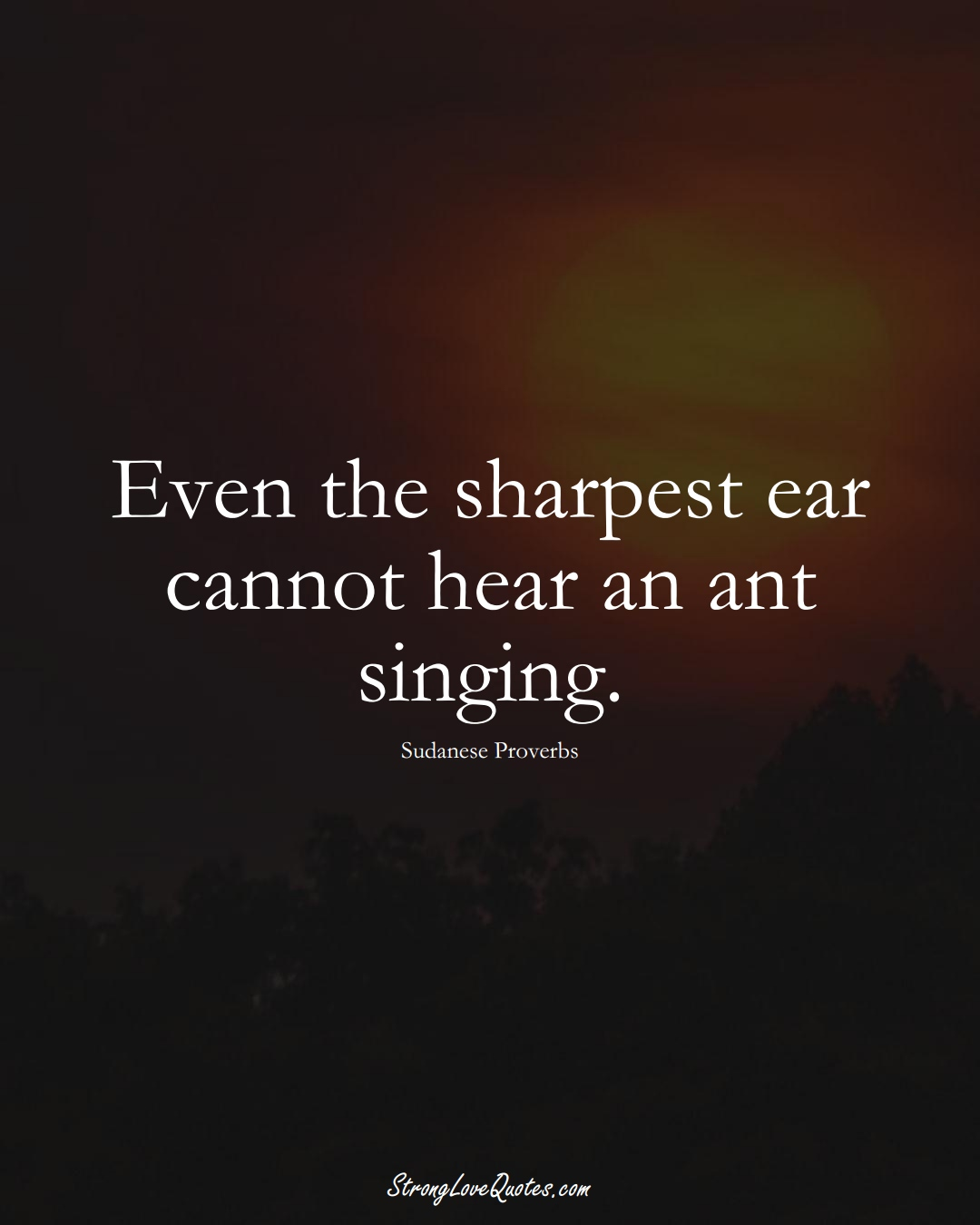 Even the sharpest ear cannot hear an ant singing. (Sudanese Sayings);  #AfricanSayings