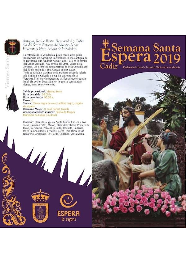 Programa, Horarios e Itinerarios Semana Santa Espera (Cádiz) 2019