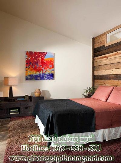 Giường phòng ngủ mộc mạc hiện đại với kích thước giường đôi làm từ gỗ