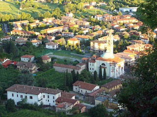The grapes for Moscato di Scanzo are grown on the hills overlooking Scanzorosciate