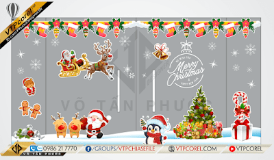 Bộ Noel giáng sinh - Merry christmas vector