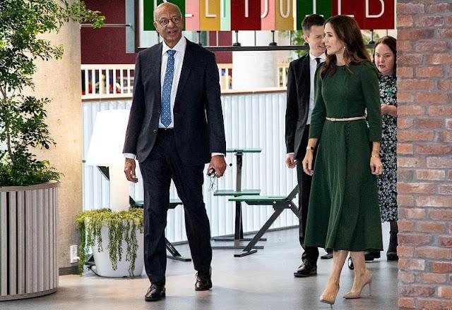 Crown Princess Mary wore a yahvi dress by Beulah. Dulong hook and eye pearl earrings and bracelet, Rebekka Notkin cuff bracelet