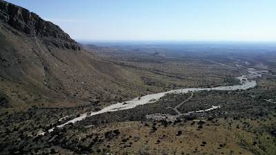 Looking back at the trailhead parking for the Guadalupe Mountains.