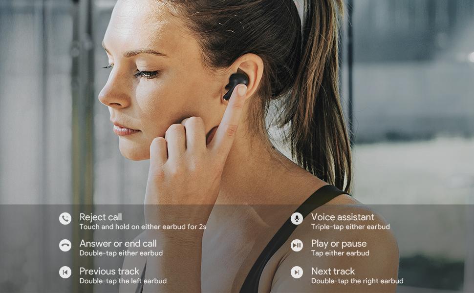AUKEY True Wireless Earbuds, Bluetooth 5 Headphones with aptX Deep Bass, 4 Microphones