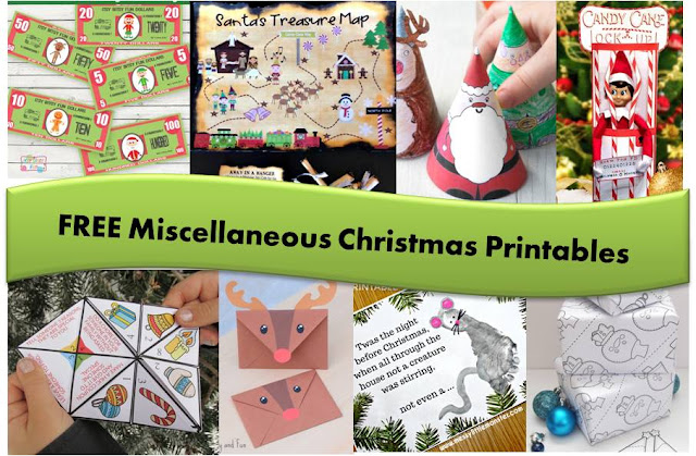 FREE Christmas Printables - pretend money, santa map, puppets, elf on the shelf mischief, envelopes, crafts, wrapping paper, advent countdowns, and more