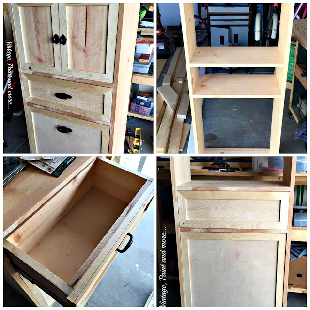 Vintage, Paint and more... collage of building stages of DIY multipurpose cabinet