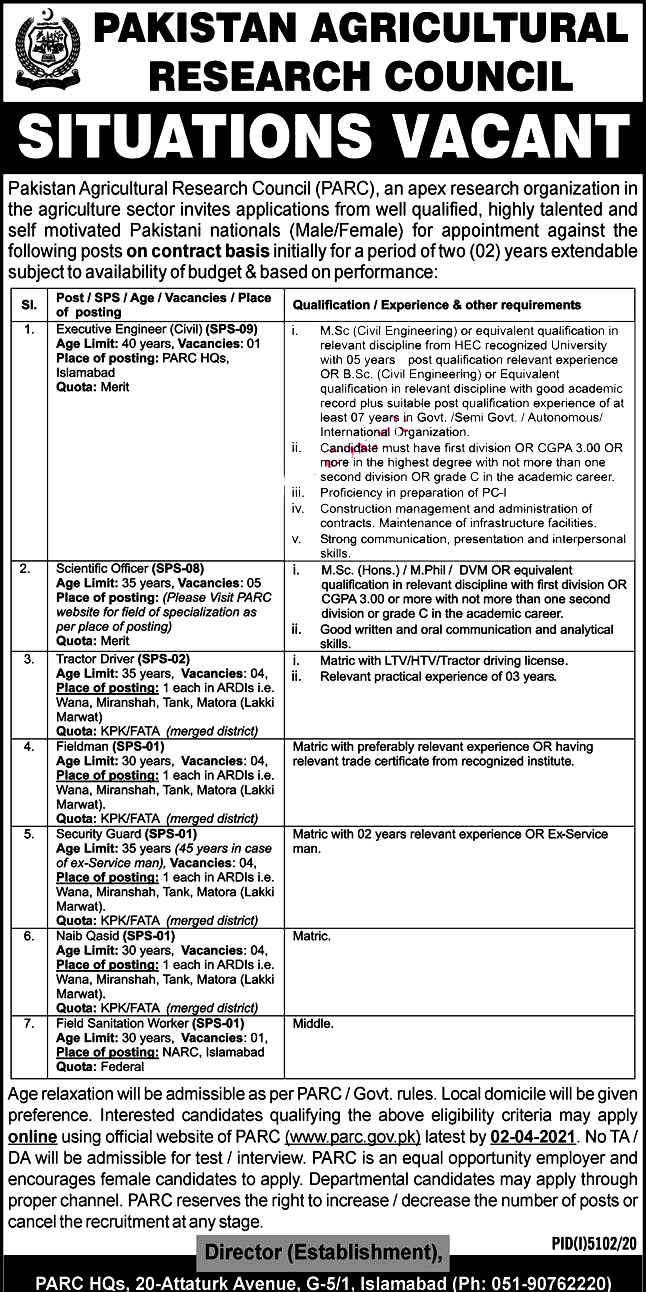 Latest Jobs in Pakistan Agriculture Research Council  PARC March 2021