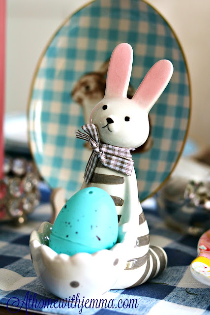 bunny, egg, holder, blue, white, polkadot, athommewithjemma