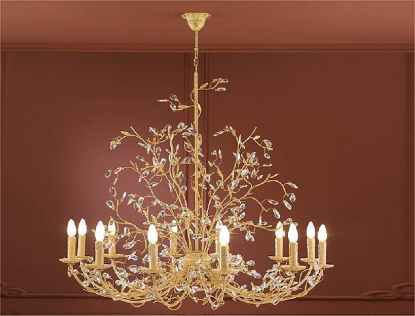 elegant gold chandelier crystals decorating