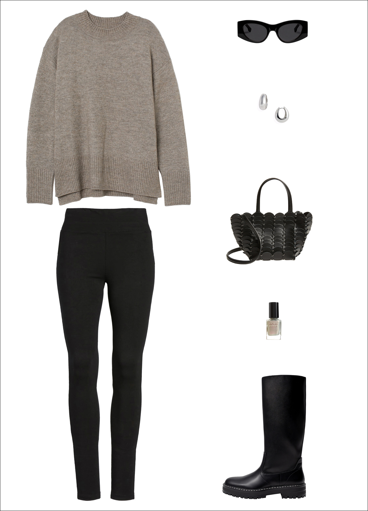 Stylish Yet Cozy Fall and Winter Everyday Outfit Idea — Oversized nueutral sweater, black cat-eye sunglasses, silver chunky hoop earrings, Paco Rabanne mini bag, black leggings, and knee-high lug-sole boots