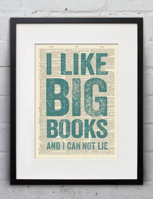 Upcycled I Like Big Books Quotation Print