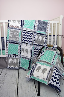 Elephant crib set with coordinating car seat canopy