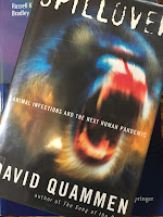 Spillover: Animal Infections and the Next Human Pandemic, by David Quammen, superimposed on Intermediate Physics for Medicine and Biology.