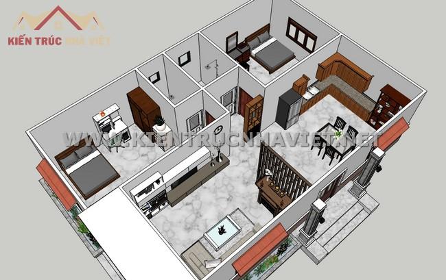 mẫu nhà cấp 4 2 phòng ngủ đẹp