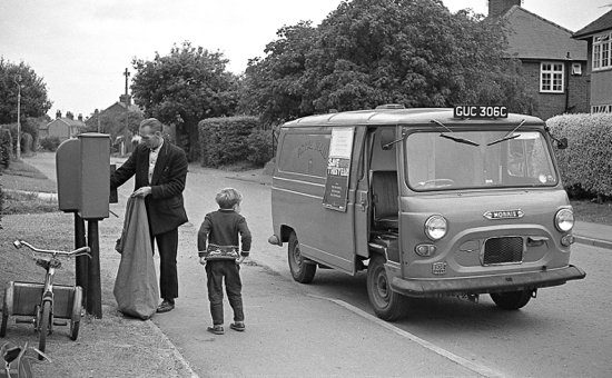Photograph of The 5pm collection, Holloways Lane, Welham Green, September 1966, note the stamp machine next to the post box