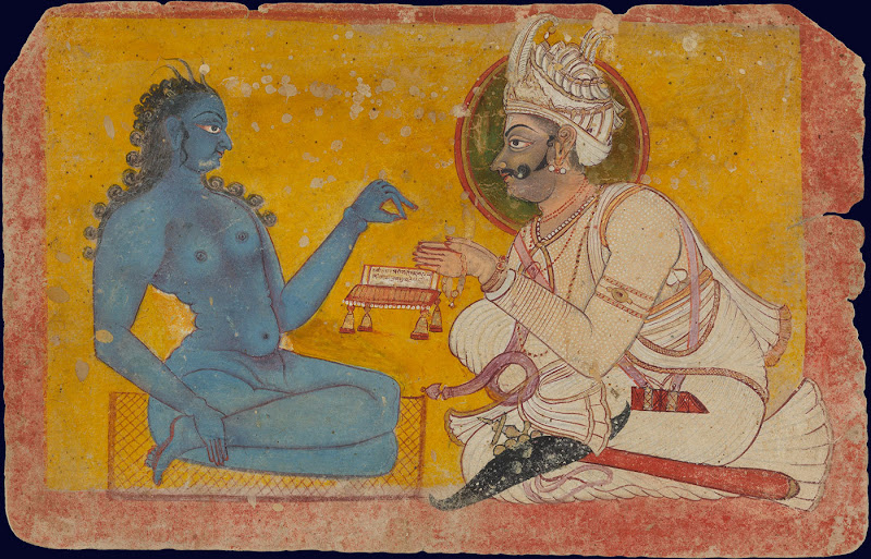 A King consulting a Rishi (wise sage) - Rajput Painting, c. 1750