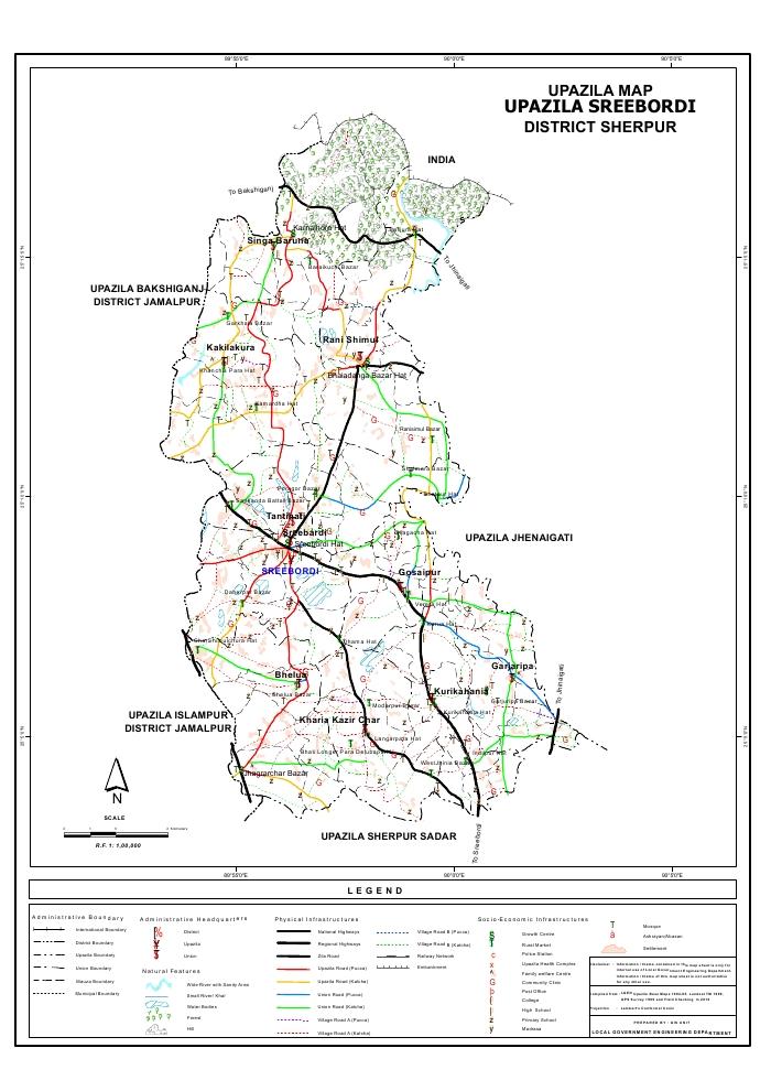 Sreebordi Upazila Map Sherpur District Bangladesh