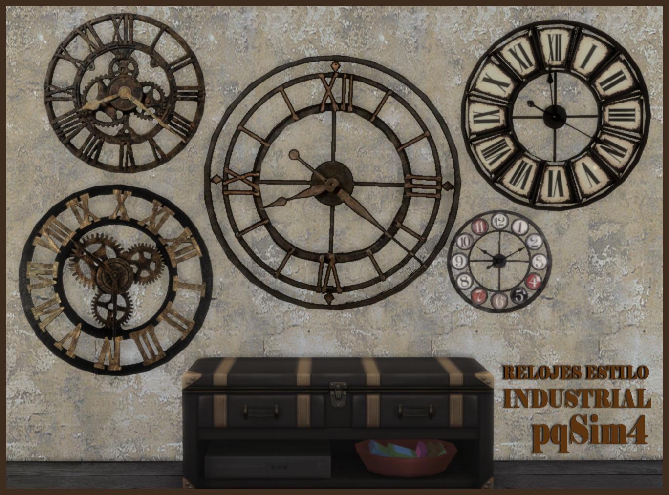 Relojes de pared industrial style sims 4 custom content for Reloj pared estilo industrial