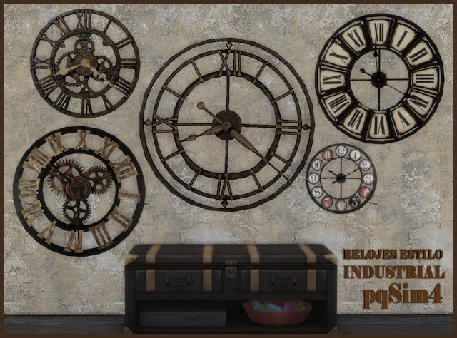 Colección de relojes estilo industrial. Sims 4 CC.