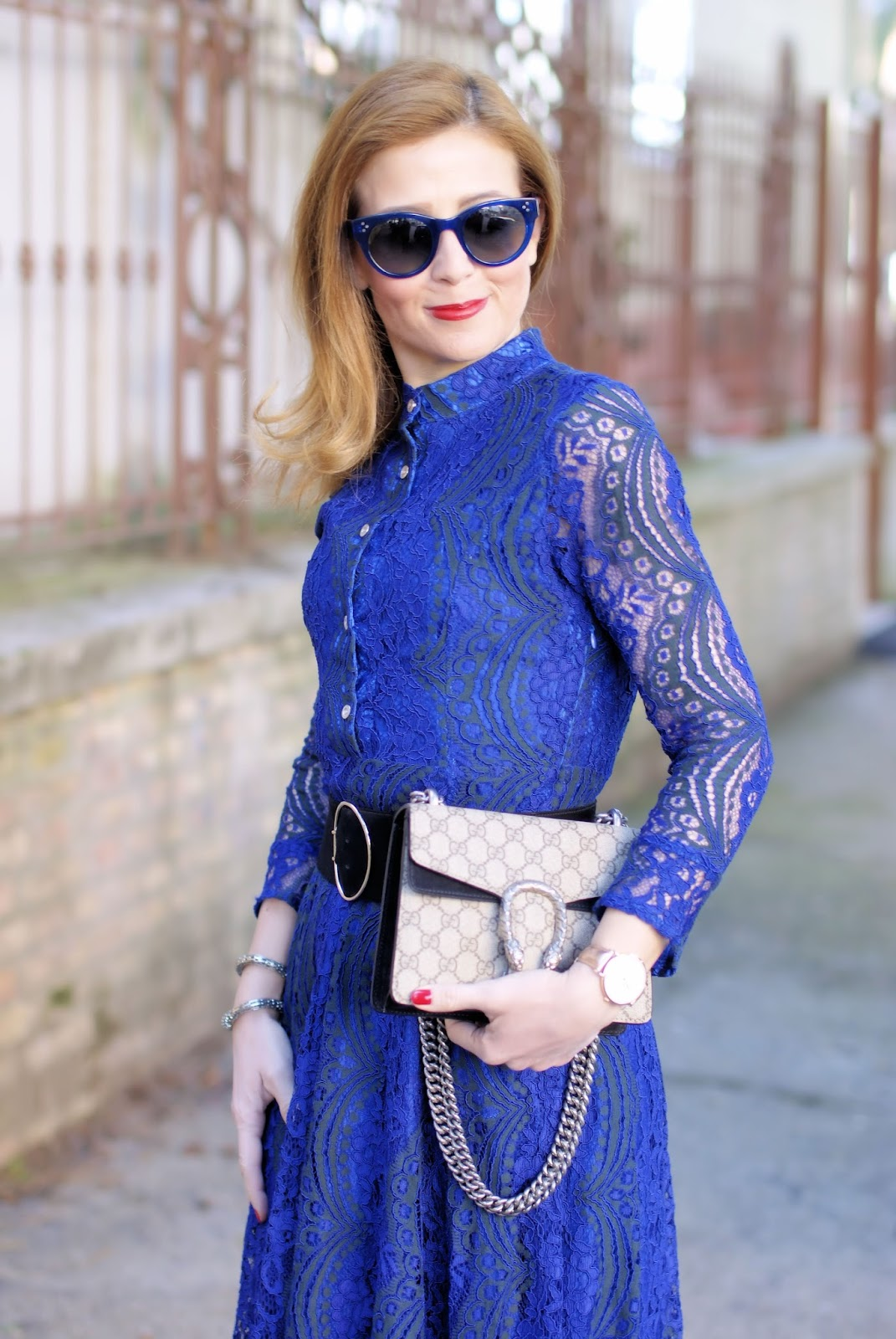 Blue lace dress and Gucci Dionysus bag on Fashion and Cookies fashion blog, fashion blogger style