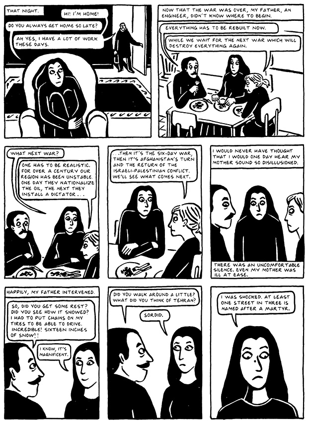 Read Chapter 10 - The Return, page 98, from Marjane Satrapi's Persepolis 2 - The Story of a Return