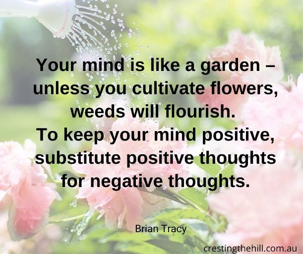 """Your mind is like a garden – unless you cultivate flowers, weeds will flourish. To keep your mind positive, substitute positive thoughts for negative thoughts."" — Brian Tracy"