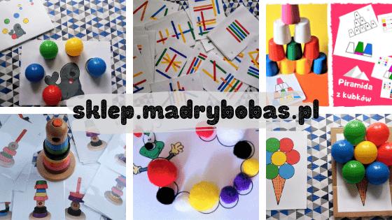 najlepsze ukladanki lewopółkulowe dla dzieci, ukladanka mula, kubki do nauki kolorów, kreatywne patyczki, pompony dla dzieci