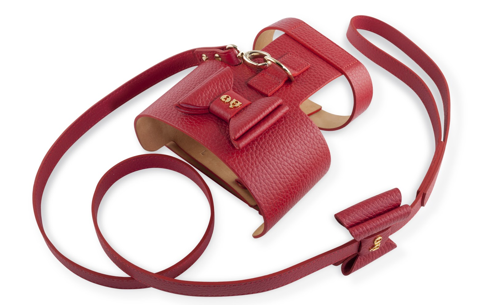 Moshiqa Bijou Leather Dog Harness Red