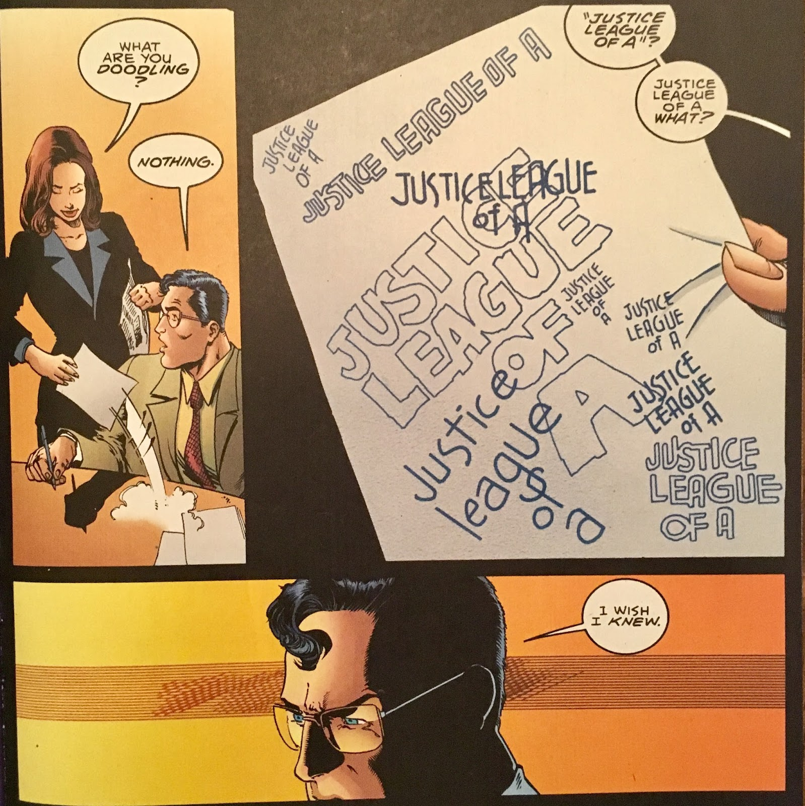 Or Two Clark Has Jotted Down Justice League Of A Over And Again So I Guess Hammond Was Almost Successful In Making The World Remember Eh