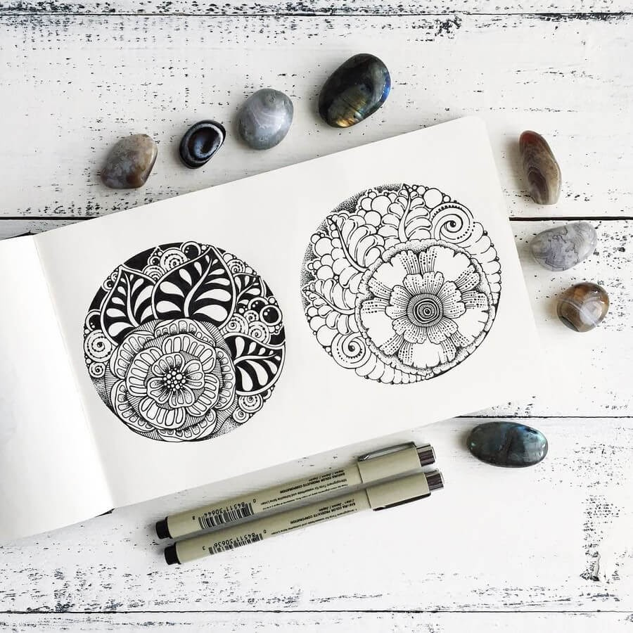03-Ksenya-Gromova-Ink-Mandala-and-Flower-Drawings-www-designstack-co