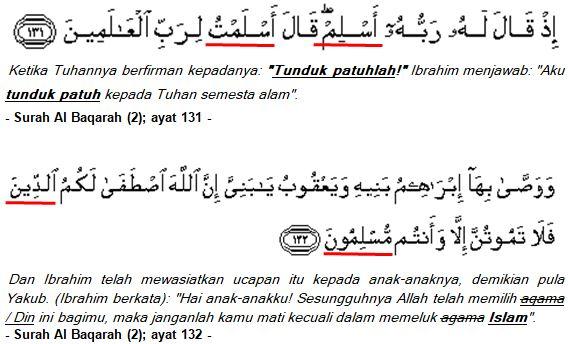 Al Baqarah (2); ayat 131, 132, 133