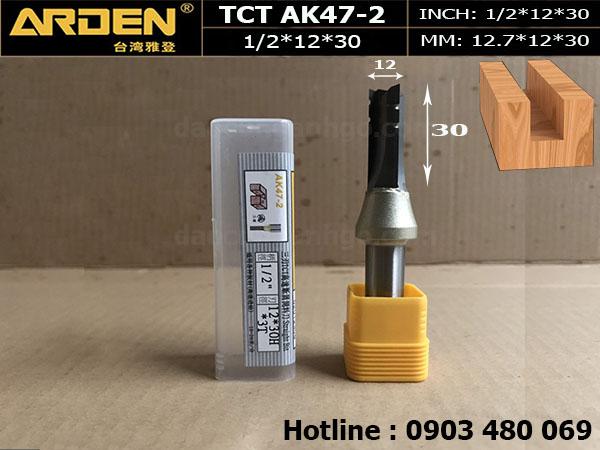 Mũi Router thẳng TCT 1/2*12*30mm*3T Mã AK47-2