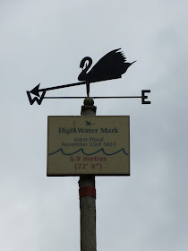 A post marking the high water mark  from the 1824 storm, the Swannery, Abbotsbury