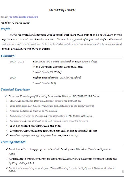 System Administrator Cv Format With 5 Years Work