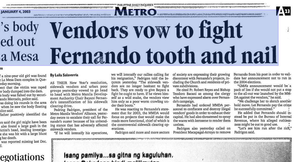 Metro Manila Vendors Alliance: October 2009