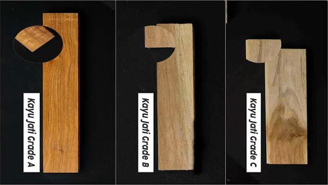 perbandingan setiap grade kayu jati
