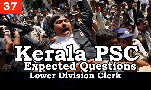 Kerala PSC - Expected/Model Questions for LD Clerk - 37