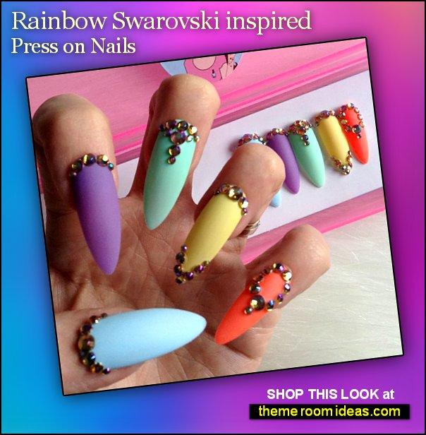 Rainbow Swarovski false nails colorful nails - colorful nail designs - rainbow nails decorating nails