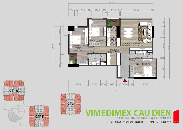 Thiết kế căn hộ A - 130m2
