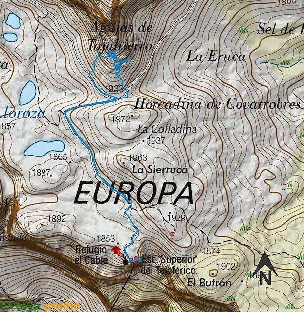 Map IGN de la ruta señalizada a las Agujas de Tajahierro en los Picos de Europa.