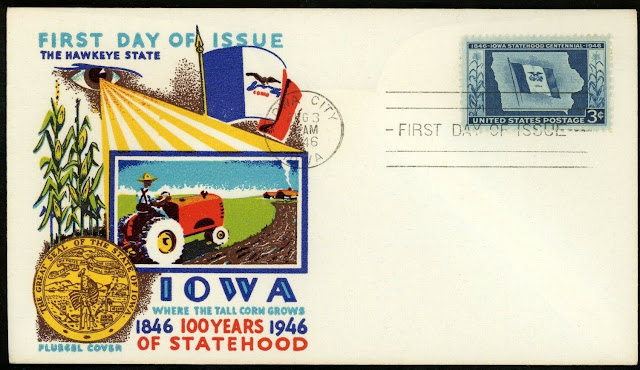 US FDC 1946 Iowa City IA Iowa Statehood Centennial