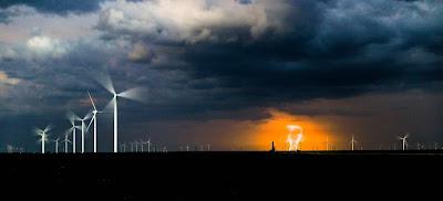 lightning strike on  wind turbines
