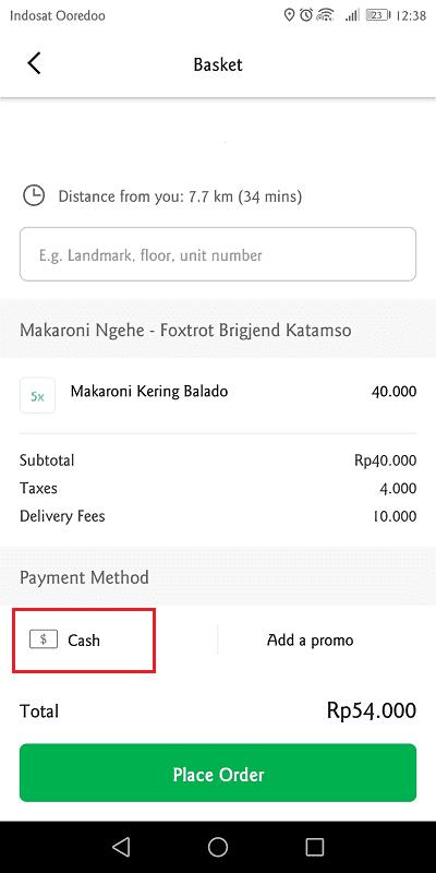 klik ikon uang untuk mengganti metode pembayaran di grab