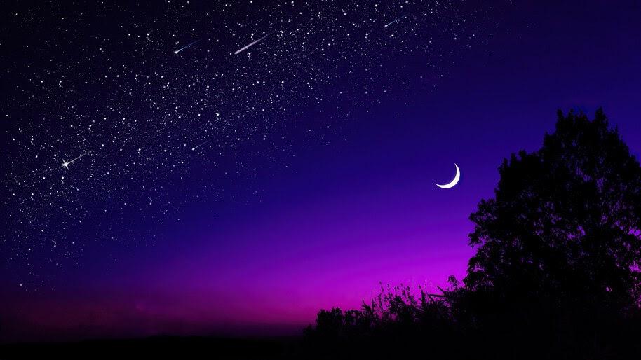 Starry, Night, Moon, Scenery, 4K, #6.918