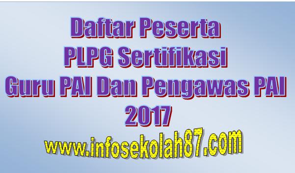 Daftar Peserta PLPG Sertifikasi Guru PAI Dan Pengawas PAI 2017