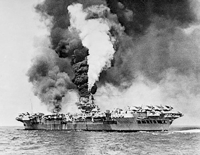 HMS Formidable on fire in May 1945 worldwartwo.filminspector.com