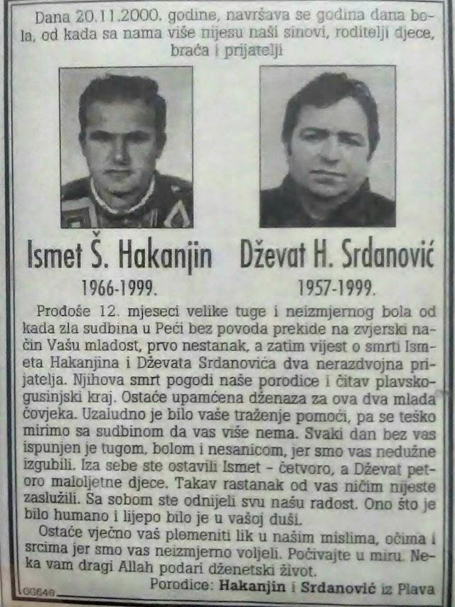 Ni nakon 20 godina nisu otkrivene ubice Plavljana Ismeta Hakanjina i Dževata Srdanovića