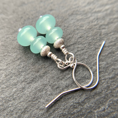 Handmade lampwork glass bead earrings by Laura Sparling made with CiM Lady of the Lake