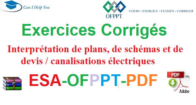 Exercices Corrigés Interprétation de plans, de schémas et de devis / canalisations électriques  Électromécanique des Systèmes Automatisées-ESA-OFPPT-PDF